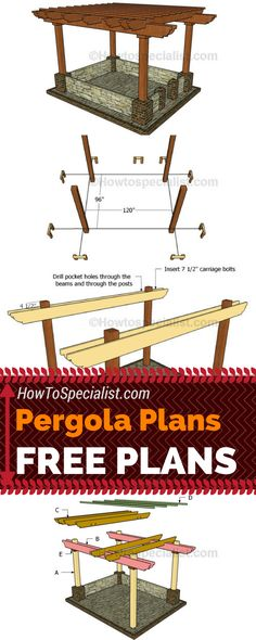 Woodworking How To Learn how to build this exquisite pergola in your garden using my free pergola plans! Build a wood pergola so you can create shade even in the hottest summer days! Diy Pergola, Free Pergola Plans, Building A Pergola, Small Pergola, Pergola Canopy, Pergola Attached To House, Metal Pergola, Deck With Pergola, Outdoor Pergola