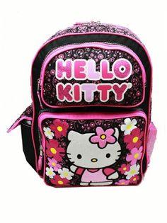 97fb314bd4fc Backpack - Hello Kitty - Flowers Black (Large School Bag)