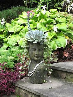 Barbara+landscape+designer+in+Maryland+-+stone+face+planter+with+blooming+echeveria+succulent+via+Stoneface+Creations. Garden Planters, Container Gardening, Planting Succulents, Garden Decor, Garden Design, Stone Planters, Head Planters, Planting Flowers, Face Planters