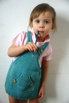 turquoise Toddler dress Knitting Baby dress girls by BambinoStore