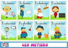 fiche vocabulaire : les métiers French Lessons, English Lessons, French Classroom, Community Helpers, Bitty Baby, Teaching French, Learn French, Literacy Centers, Educational Activities