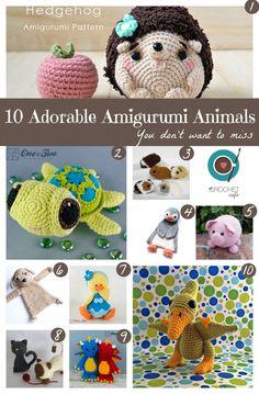 10 Adorable Amigurumi Animals - Crochet Pattern Round-up