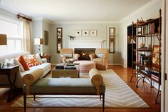 Room of the Day: I love this greeny blue and gold color scheme.