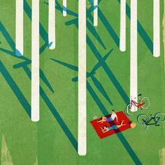 Keith Negley wind turbine picnic illustration