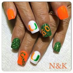 My AWESOME Miami Hurricanes Nails! LOVE THEM! Football Nail Designs, Football Nails, Polygel Nails, Hair And Nails, Manicures, Miami Hurricanes, Hurricanes Football, Toe Nail Designs, Nails Design