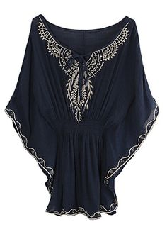 navy butterfly sleeve top