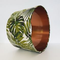 Drum lampshade hand rolled in a botanical fabric by Tempo. This shade has also been lined with brushed copper. Pink Velvet, Green Velvet, Palm Garden, Home And Garden, Copper Lampshade, Animal Print Bedding, Dream Catcher Native American, Duvet Bedding Sets, Quilt Cover Sets
