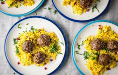 Spicy lamb balls with jeweled rice and cumin yoghurt