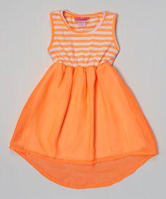 Look what I found on #zulily! Orange Stripe Hi-Low Dress - Girls by Girls Luv Pink #zulilyfinds