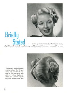 1940s American Hairdresser vintage hairstyle. The Bobby Pin Blog 1950s Hairstyles, Vintage Hairstyles, 1940s Fashion, Vintage Fashion, Vintage Tops, Retro Vintage, Funny Vintage Photos, Retro Waves, Body Adornment
