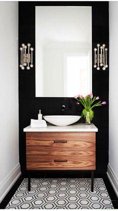 Black Cabinets Bathroom, Laundry Room Bathroom, Bathroom Flooring, Kitchen Cabinets, Laundry Rooms, Bathroom Beadboard, Bathroom Wallpaper, Bath Room, Bathroom Storage