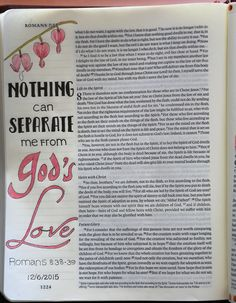 Romans 8:38-39 - Nothing can separate me from God's love Colored with Polychromos colored pencils Fonts used: DK Innuendo, Lowetica, Vein, Before the Rain