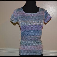 NICOLA PETITE blouse, size petite Powder blue, peach, pink, dark blue blouse size petite medium, no zipper or button closure. Nicola Tops Blouses