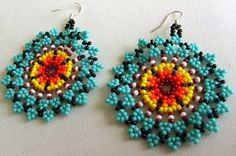 Mexican Huichol Beaded flower earrrings by Aramara on Etsy