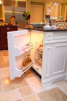 kitchen island wth a mini-fridge built in