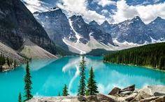 Montanha com neve ❄ 🗻 Lago Moraine Lake ,Banff National Park Alberta, Canada Lago Moraine, Parc National De Banff, Banff National Parks, Places Around The World, Around The Worlds, Natur Wallpaper, Hd Wallpaper, Summer Wallpaper, Apple Wallpaper