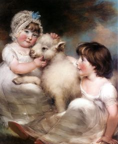 John Russell Portrait of Miss E. and Miss L. Earle with a Lamb