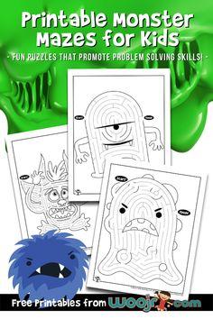 Printable Monster Mazes for Kids