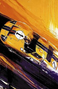 """The Ford GT40 Mk II piloted by Ken Miles and Denny Hulme during the 24 Hours of Le Mans in 1966. Miles and Hulme went on to finish second in the race, sandwiched between two other GT40s in an all-Ford podium.  Artwork """"GT Sunrise"""" by Camilo Pardo"""