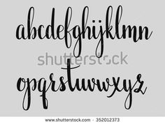 Handwritten brush style modern calligraphy cursive font. Calligraphy alphabet. Cute calligraphy letters. For postcard or poster decorative graphic design. Isolated letter elements.