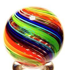 "EDDIE SEESE GLASS 1-1/2"" NEON GREEN DICHROIC RAINBOW MARBLE"