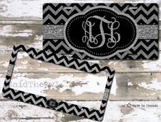 Silver glitter, Black and Silver, Chevron, Cute License Plate, Bike Tag, Bike License Plate, License Plate Frame - monogrammed license plate