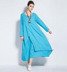 Anysize retro soft linen & cotton dress cotton dress by AnySize