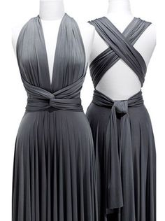 Fashion Sheath V-Neck Floor Length Grey Bridesmaid Dress with Ruffles - Dresstells.com