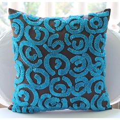 Brown and Blue Turq Pillow Covers  16x16 Inches by TheHomeCentric, $28.95