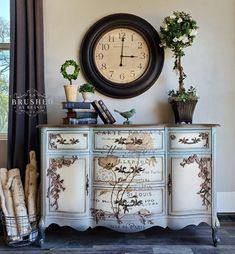 Fabulous French Cherry Blossom Buffet – Brushed By Brandy Lane Furniture, Chalk Paint Furniture, Furniture Makeover, Floral Furniture, Furniture Refinishing, Country Furniture, Buffet, Dixie Belle Paint, Furniture Inspiration