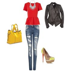 Women's outfit ideas - date night - girl's night out - club outfit - yellow handbag and shoes - cute leather jacket - statement necklace - peplum shirt - distressed jeans