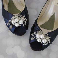 Navy Blue Peep Toe Wedding Shoes with Pearl and Rhinestone Adornment – Ellie Wren