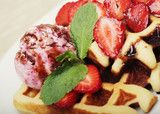 waffles with strawberry and ice cream