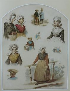 Deze prent is getekend tussen 1850 en 1857. Op de foto zijn klederdrachten uit de oostelijke Meierij te zien. De dame bij nummer 2 is een Veghelse bruid. Ze draagt haar trouwjurk, gemaakt van lakenstof. De muts is gemaakt van tule, een tere stof, versierd met bloemetjes. De versiering met bloemen komt vanaf 1850 steeds vaker voor op de mutsen die de vrouwen in de Meierij dragen. Vaak werden er ook linten aan de muts gemaakt. Rond 1870 ontstaat uit deze versiering van bloemen en linten de…
