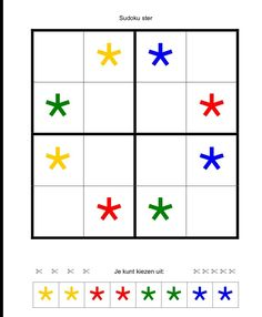 (2014-09) 4 * 4 felter, stjerner Preschool Education, Preschool Math, Kindergarten Math, Maths, Sudoku Puzzles, Printable Puzzles, Games For Toddlers, Activities For Kids, School Games
