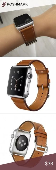 Brown Apple Watch Leather Band with silver buckle Brown Apple Watch Leather Band with Silver Adapters and Silver Buckle. Available with 38mm adapters or 42mm adapters. Please select your size when you purchase.  Genuine high quality leather. Only the band is for sale. It does not include the watch. Feel free to ask any questions!  Other
