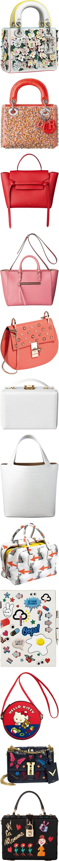 Vogue Japan bags and clutches! by blueladybird on Polyvore featuring women's fashion, bags, handbags, sac, white handbags, white purse, white bags, dior, celine and red purse