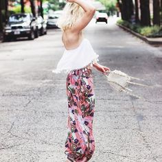 Bryanna Bach Cincinnati fashion and beauty blogger | Currently trending- Lulu's, Free people, balloon pants, billowy pants, strapless tops, white tops, boho chic looks, crochet bags, and festival style outfits 2017
