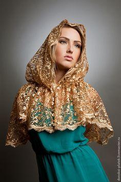 """Купить платок в храм """"Мирослава"""" - золотой, орнамент, подарок девушке, платок на венчание, платок в храм"""