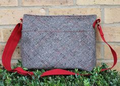 Purse crossbody bag wool fabric brown and red by Enchantingcrafts, £32.00