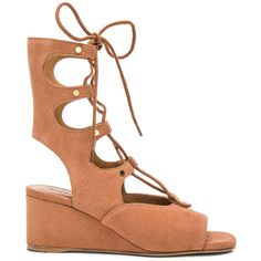 Chloe Suede Foster Wedge Sandals (3,980 CNY) ❤ liked on Polyvore featuring shoes, sandals, suede sandals, cut out sandals, wedge sandals, mid heel sandals and suede shoes