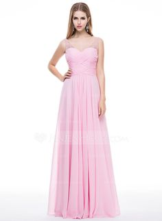 A-Line/Princess V-neck Floor-Length Chiffon Tulle Prom Dress With Ruffle Beading Sequins (018056783)