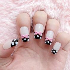 Nail Art ~ Baby pink base with black tips  with white polka dots (bow optional).