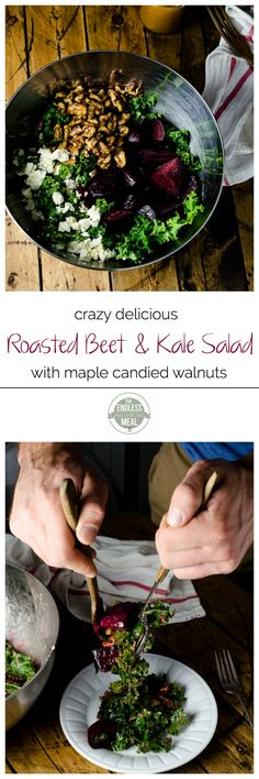 Roasted Beet and Kale Salad with Maple Candied Walnuts | theendlessmeal.com