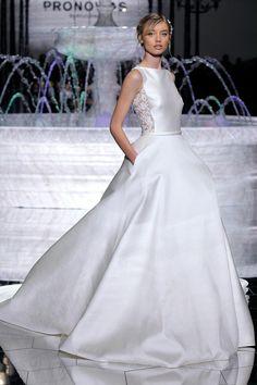 Sleeveless Silk Taffeta Wedding Dress with Lace Side Panels   Atelier Pronovias Spring 2018    http://trib.al/yZabuGS