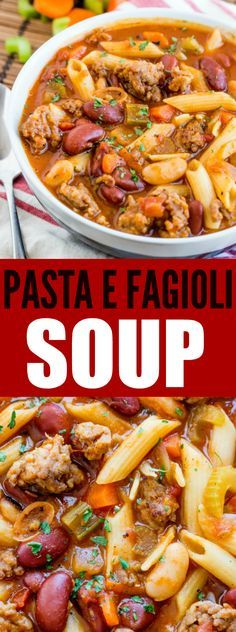 A hearty meal full of veggies, beans, sausage and pasta this Pasta e Fagioli Soup is a seriously easy and addictive dinnertime staple.