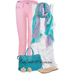 Pink Jeans, I have a pair of pink jeans I could match with turquoise.  Love this look.