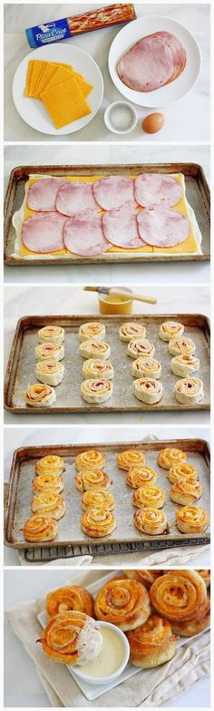 Ham and Cheese pinwheels! @Morgan Duval This is what Mom made, just add mustard and sesame seeds!