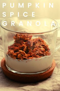 This is, actually, my year-round go-to granola recipe! But, come October, I go full pumpkin spice mode! Then, when spring comes, I go back to just cinnamon! Add it to Greek yogurt and drizzle a bit of honey, and you'll have the perfect snack! #homemadegranola #pumpkinspice #vegetariansnacks How To Make Pumpkin, Vegetarian Snacks, Pumpkin Pie Spice, Greek Yogurt, Granola, Peanut Butter, Cinnamon, Spices, Easy Meals