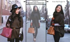 ExtraPetite.com - How to style a poncho sweater.  The third photo.  I'd wear this with boots though.